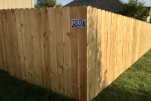 5' tall solid cedar privacy fence with 1x6x5 pickets