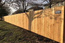 5' tall solid cedar privacy fence with 1x4x5 pickets