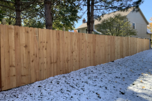 5' tall solid cedar privacy fence with 1x6x5 pickets and Berkley posts