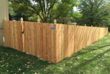 6' tall solid cedar privacy fence with 1x4x6 pickets and French Gothic posts