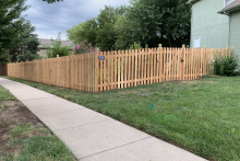 5' tall spaced cedar picket fence with 1x4x5 pickets and Berkley posts