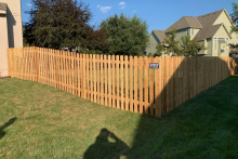 5' tall spaced cedar picket fence with 1x4x5 pickets